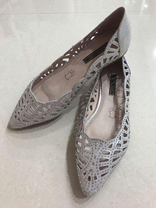 ELISA LITZ Pig Lining Flats covered pointed glitter silver elegant dressing shoes party dinner crystals Ballerina