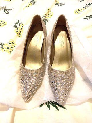 Wedding Shoes high heels 婚後物資 香檳色水晶高跟鞋 36.5size