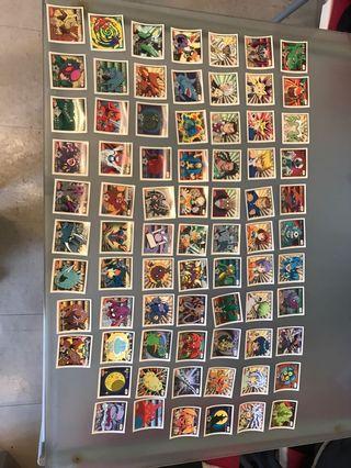 初代 萬代 遊戲王 貼紙 白卡一套75張, 齊白卡 完美品