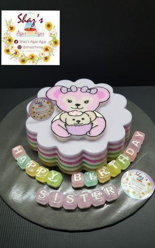 Customised Hand Draw Shelliemay Agar Agar Birthday  Cake