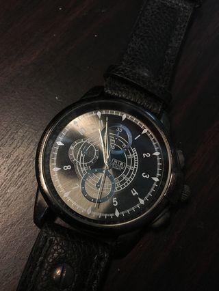 成熟男士手錶 黑色牛皮