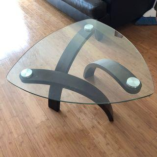 Triangle Glass-top Coffee Table w/ Wooden Legs