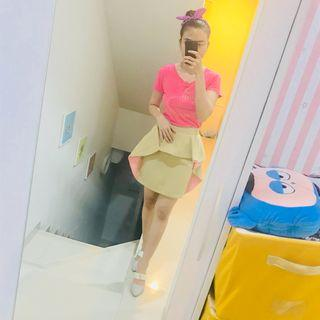 Skirt cream pink set kaos pink
