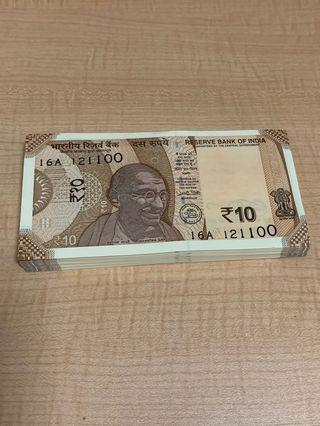 🚚 India new 10 rupee issue - 2018 (one stack)