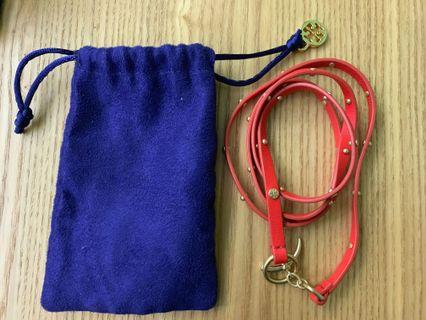 Tory Burch red leather bracelet (total 82cm long)