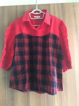 Red Checkered Top with collar
