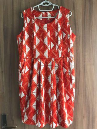 XXL orange sleeveless dress