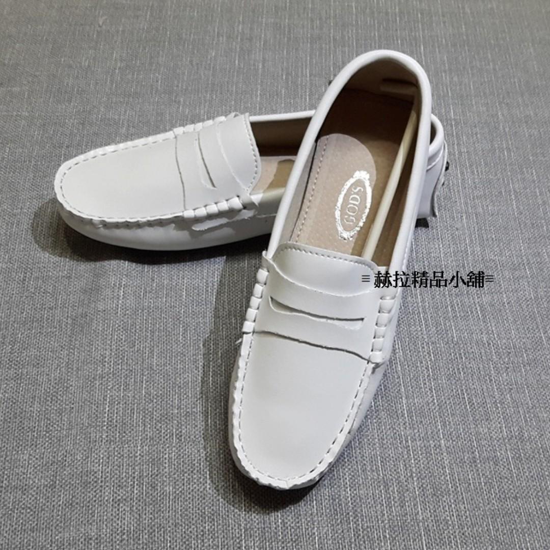 皮面白手工豆豆鞋(5種款式)男女適宜