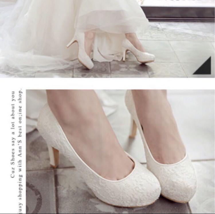 Ann's 典雅白色蕾絲高跟鞋 婚鞋 婚紗 宴客 35號 全新