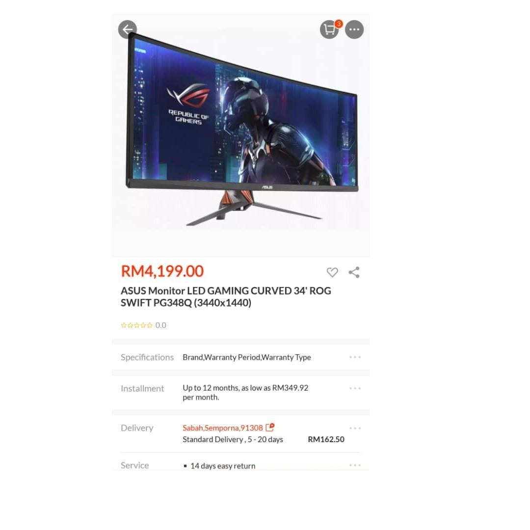 Asus ROG 34 inch Curved Gaming Monitor 100Hz