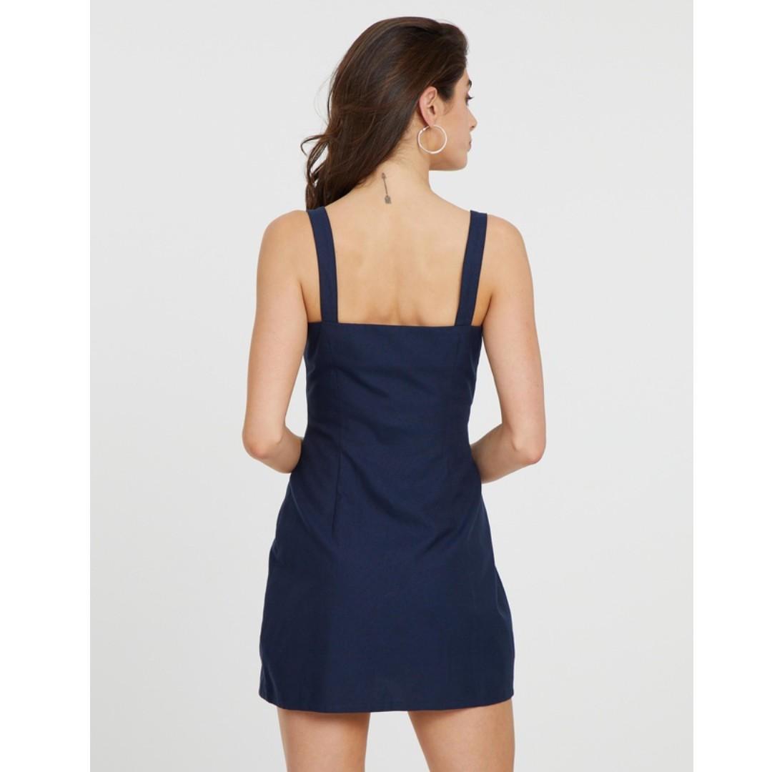 Atmos&Here Steffie Sweetheart Mini Dress Navy Blue Wrap Silver Strap