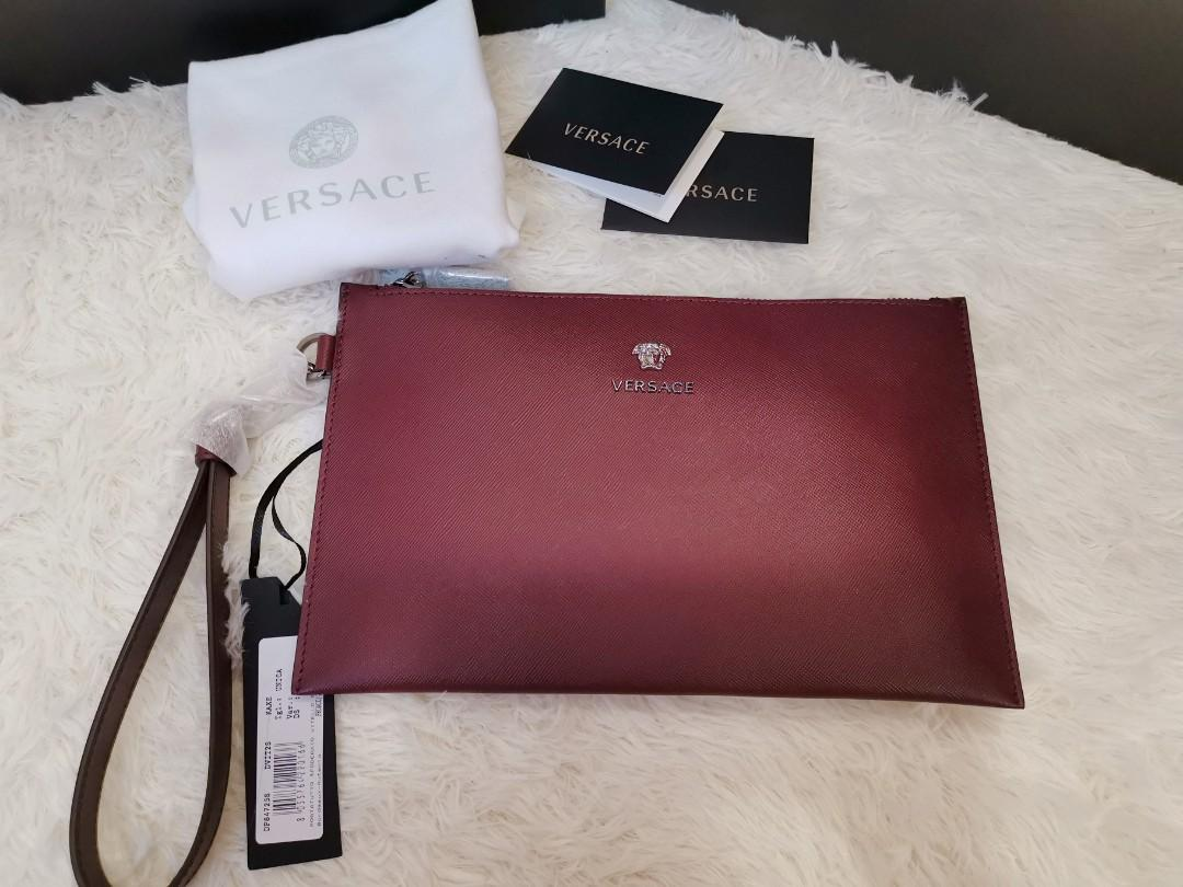 AUTHENTIC VERSACE LEATHER CLUTCH in BURGUNDY colour