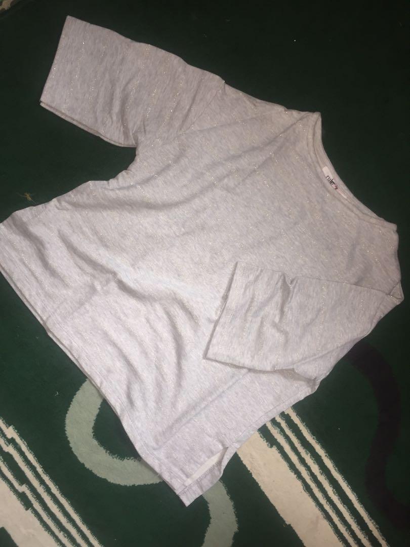 #mauthr Baju sweater strips grey
