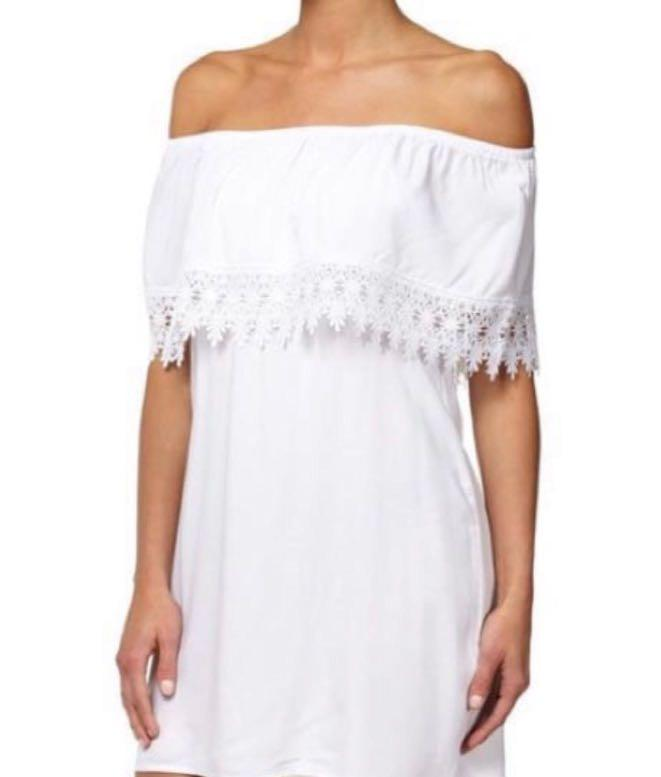 Cotton On White Off the Shoulder Dress - AU Size XXS