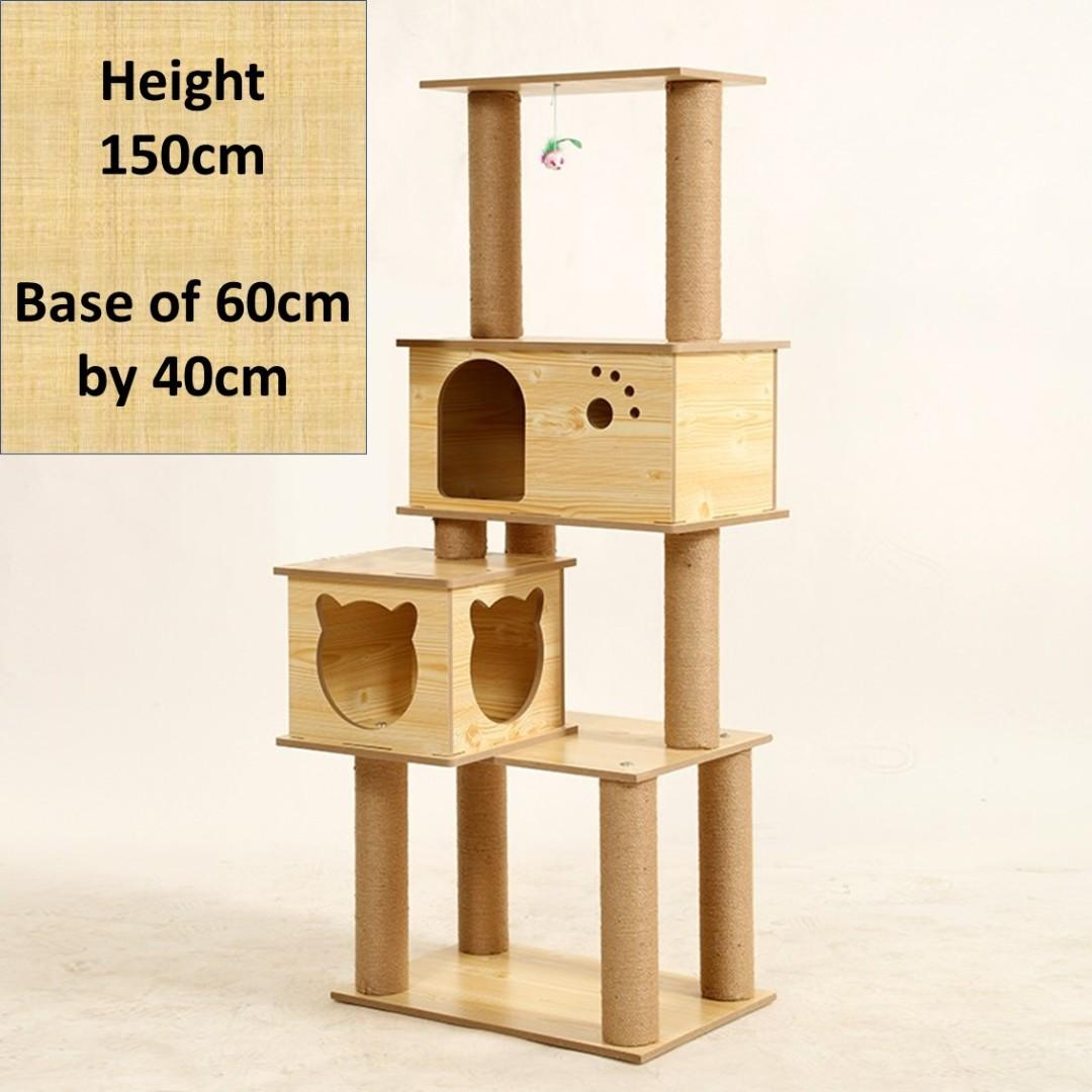 double house cat condo tree, tall, not cage carrier cushion food litter tray sand
