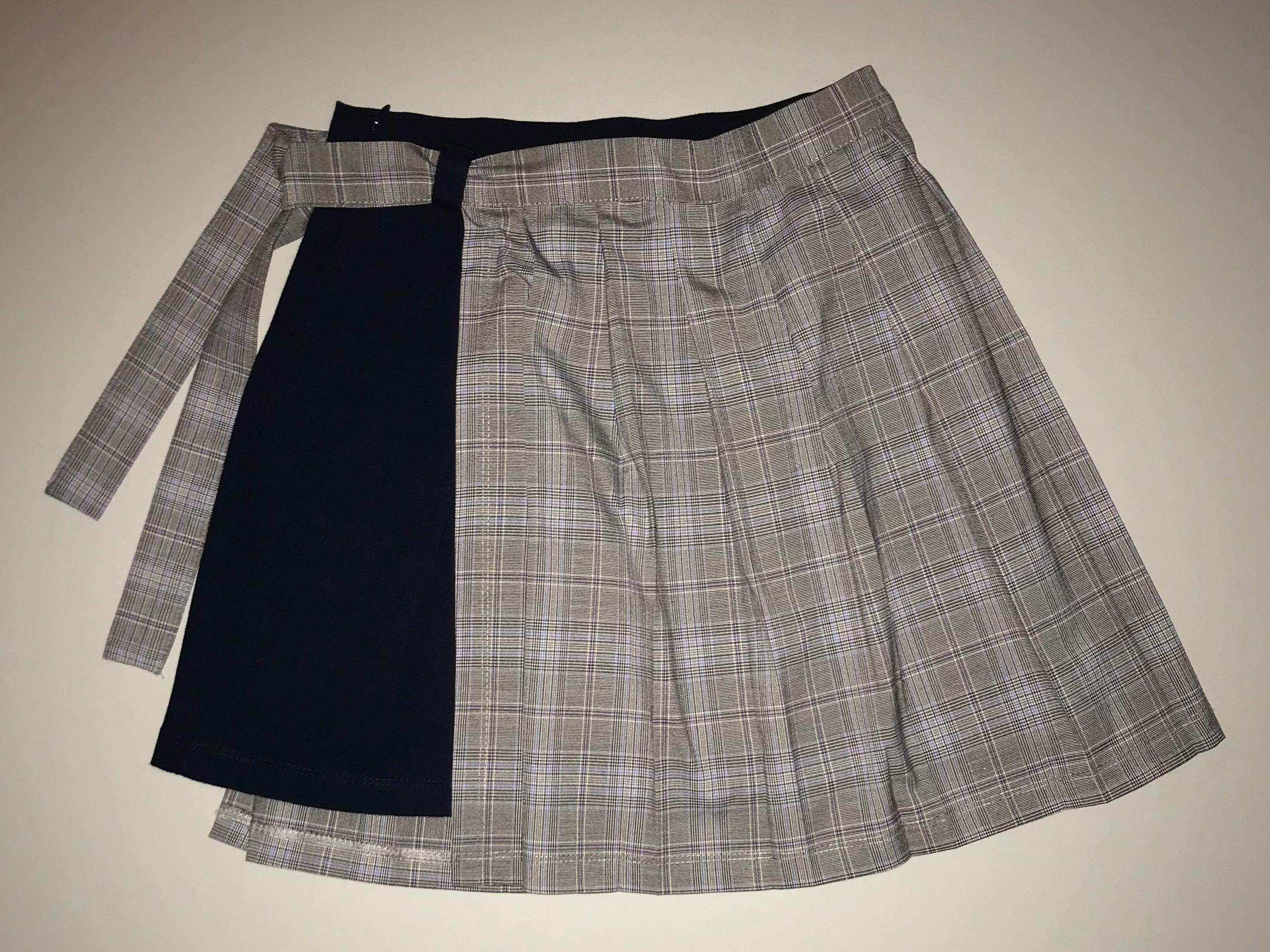 Double Layered Plaid Skirt