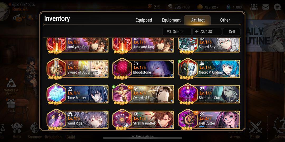 Epic Seven 7 Asia Account - Limited Dizzy, Sol, best healer