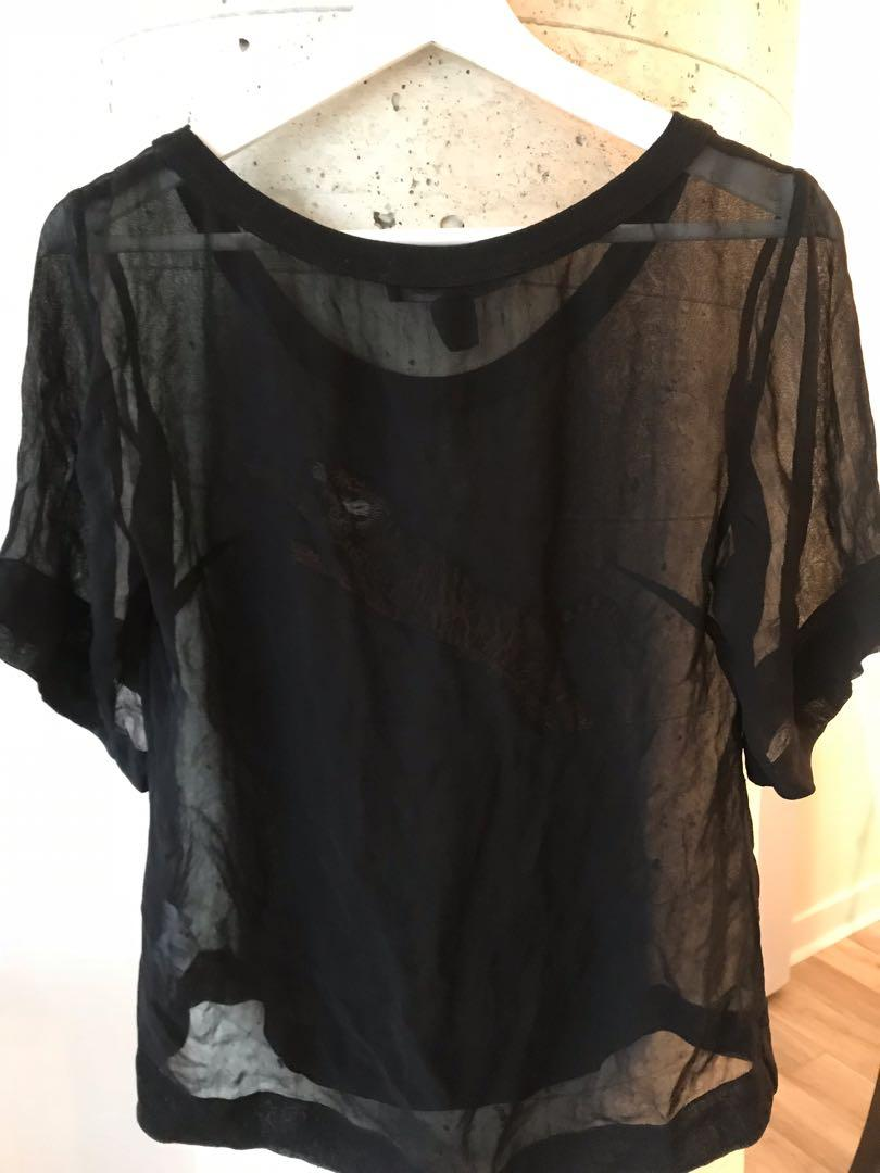 French Connection Sheer Black Tigress Top Size Small
