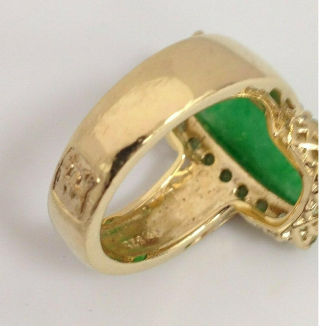 Gold-Plated Sterling Silver Ring Size 5.75 Jade & Green Gemstones Jewelry