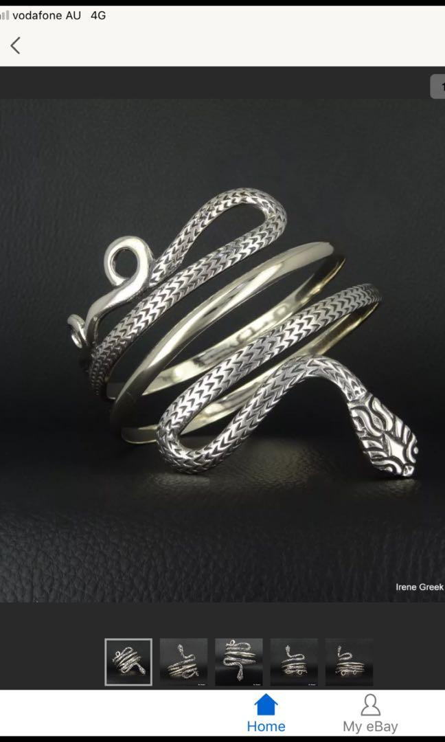 Gorgeous Snake wrAp around bangle small Stirling Silver