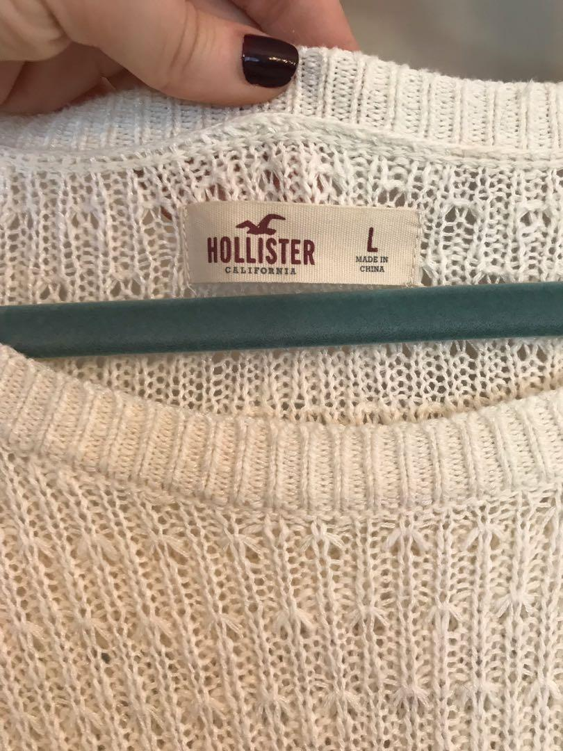 Hollister ivory knit lace sweater