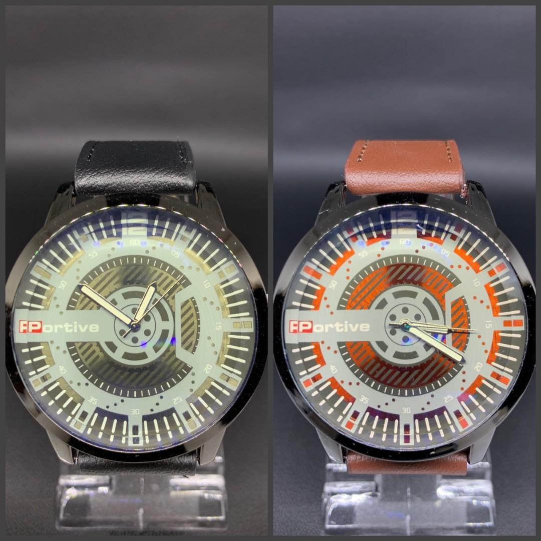 Jam tangan DAILY KULIT  Tali kulit tebal kaca tebal diameter 5cm 0.15kg