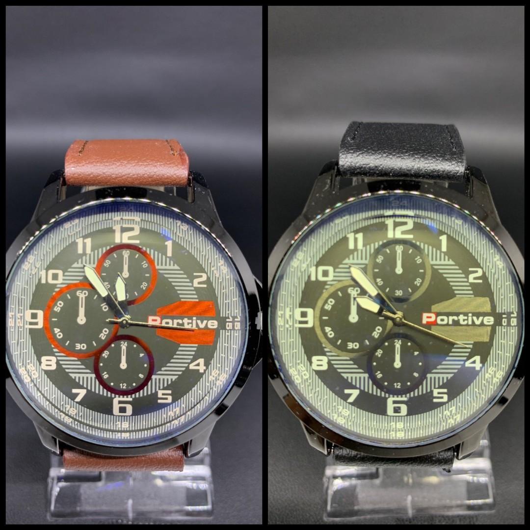 Jam tangan MORIZ KULIT  Tali kulit tebal kaca tebal diameter 5cm 0.15kg
