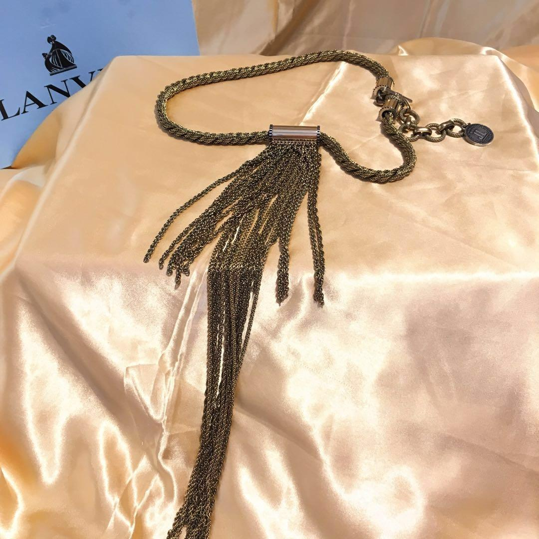 Lavin vintage Gold and Gunmetal Long Chain Fringe Necklace (only used one times)