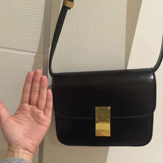 Leather Shoulder Bag - Shining Black