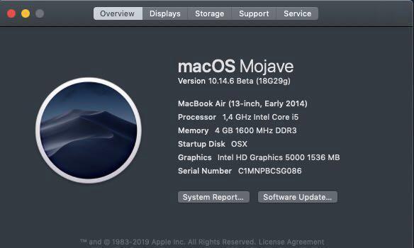 "Macbook Air 2014 13""/i5/4GB/256SSD"