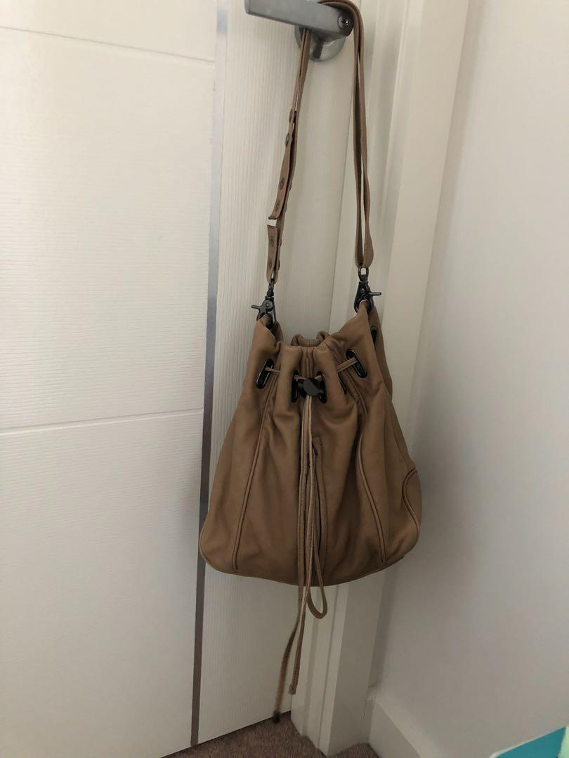 Mimco genuine leather bucket bag for sale - preloved in perfect condition