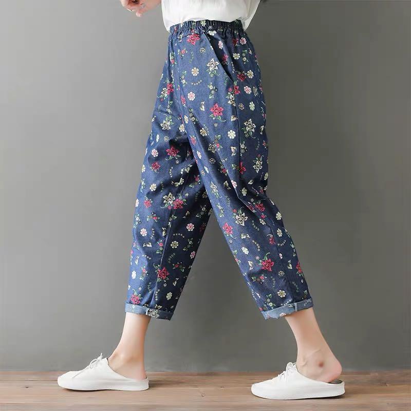 Plus Size Korean print micro-elastic jeans summer elastic waist thin harem pants