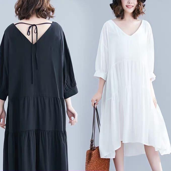 Plus Size long pleated hollow back strap dress five-point sleeve women's new summer casual skirt