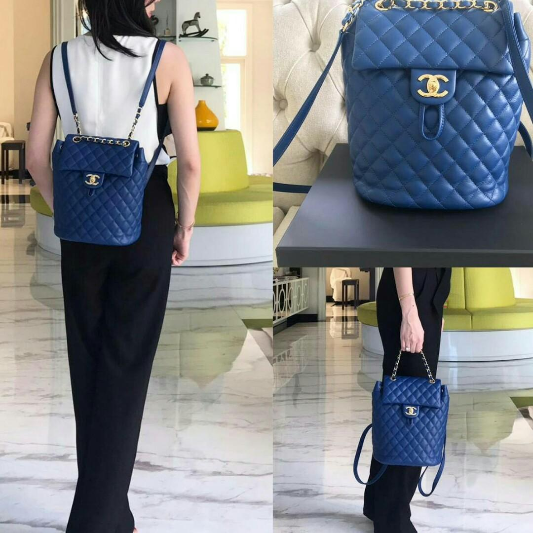 PRELOVED like new chanel backpack small 20 cm (bukan mini)blue lamb GHW #25