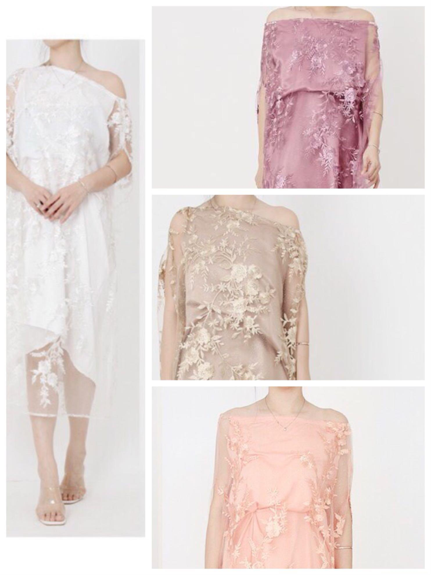 SOLD OUT - PREMIUM Dreamy Kaftan 😍 satin silk tulle pearl glitter / Ramadhan pesta bridesmaid