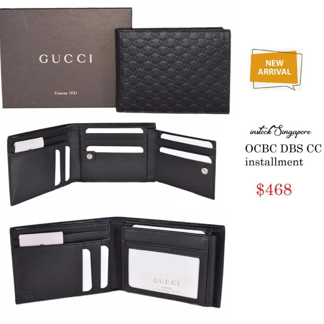 READY STOCK - AUTHENTIC - NEW Gucci 217044 Black Calf Leather Micro GG Guccissima Pattern ID card holder