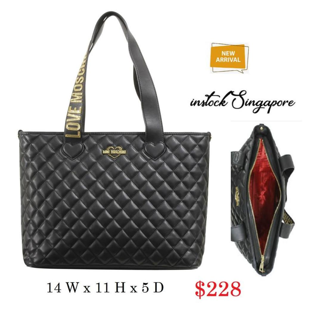 READY STOCK - AUTHENTIC - NEW Love Moschino Women's Black Quilted Heart Logo Tote Handbag ZIP JC4214P04 KA0