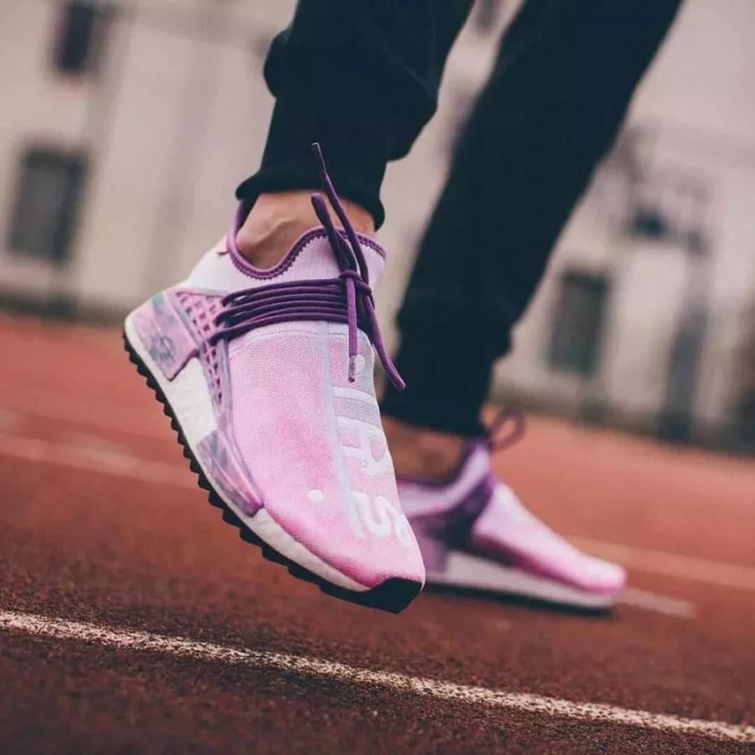 b8e781d24 Adidas Human Race Pharrell Wiliams Holi Festival Pink Glow NMD, Men's  Fashion, Footwear, Sneakers on Carousell