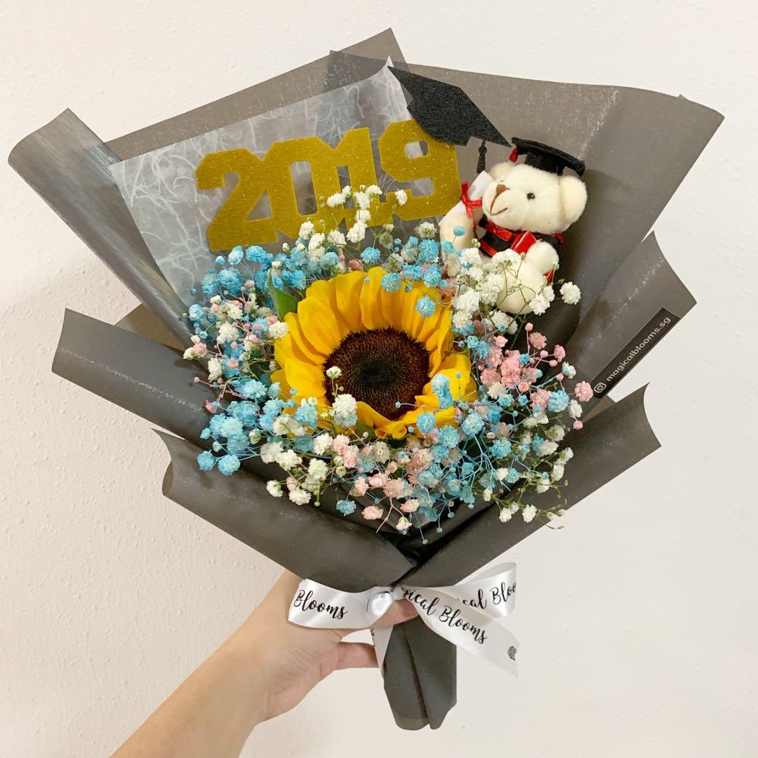 Sunflower with Baby Breath and Topper with Graduation Bear