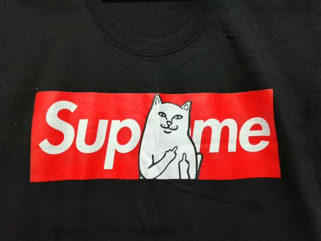 Supreme Cat Middle Finger Black T-shirt, Women's Fashion, Clothes