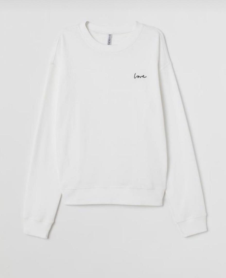 Sweatshirt with Motif by HnM - Love White