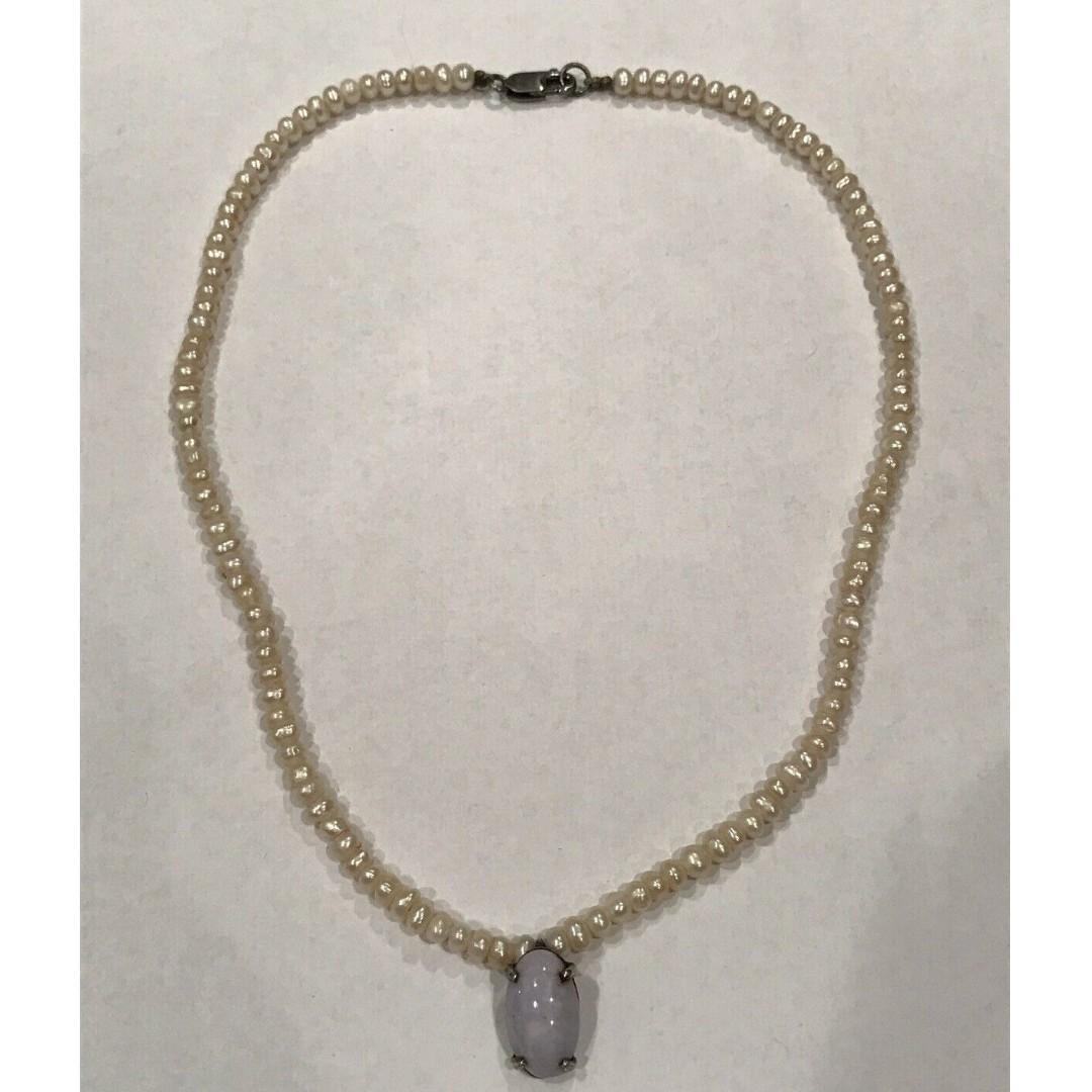 "Vintage Sterling Silver Pearl & Jadeite Pendant Necklace Size 14"""