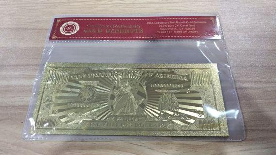 Gold Money American US$ 1 Billion Dollars