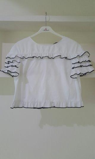 ZARA白色短版上衣