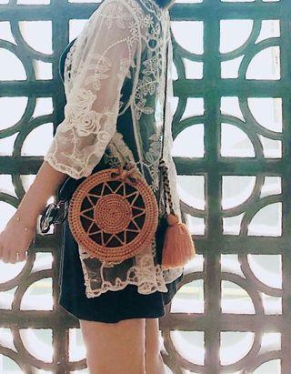 峇里 藤製編織包連流蘇