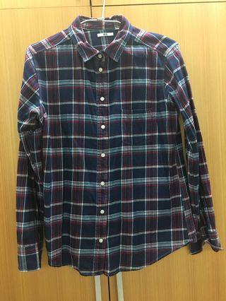 🚚 UNIQLO 藍紅格長袖襯衫
