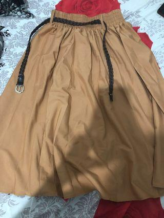 Rok coklat plus belt #mauthr