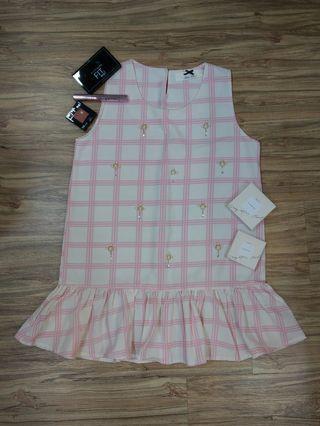 🚚 粉色格紋無袖上衣