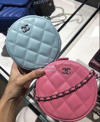 Chanel Circle Chain Bag Tiffany Blue Lambskin