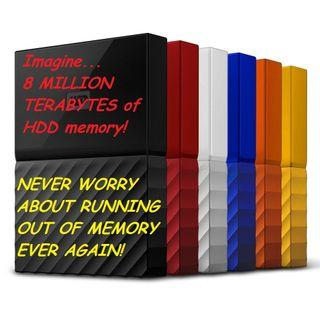Unlimited 8,000,000 Terabyte Hard Disk (HDD) storage!